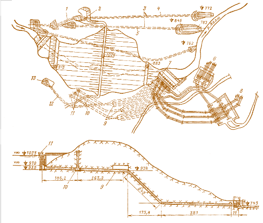 Нурекская ГЭС: а – план;