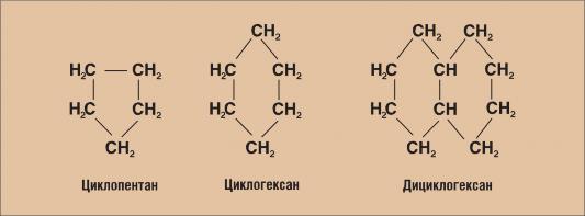 Рис 8.5. Структурные формулы нафтеновых углеводородов