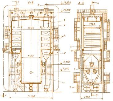 котел КВ-ГМ-180-150: 1 –